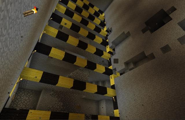 Minecraft: Выработанный рудник с видом на коммуникации нашей шахты