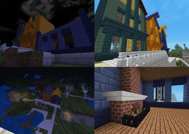 Minecraft: Следующим нашим шагом стал комплекс из трех домов и общее оформление набережной