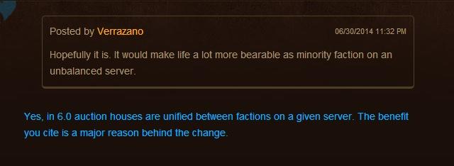 World of Warcraft: Объединение аукционов противоборствующих фракций