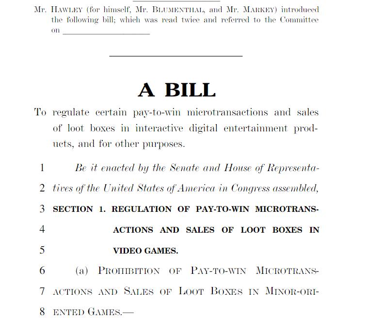 MMO-индустрия: Законопроект о запрете pay-to-win в США
