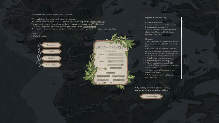 Book of Travels: Бета: Создание Персонажа