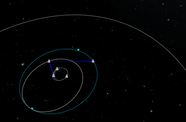 Kerbal Space Program: Спутник связи передаёт сигнал командного центра (синия линия)