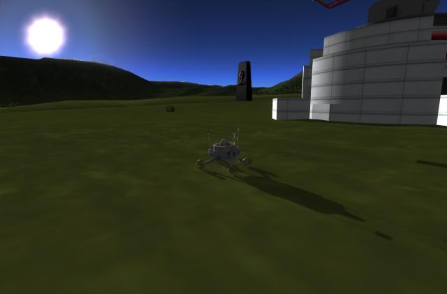 Kerbal Space Program: Мунолит рядом с радаром KSC-2