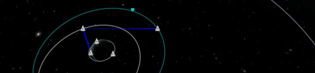 Kerbal Space Program: Синие линии показывают путь радиосигнала