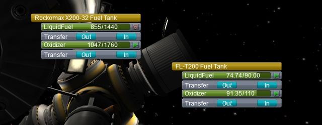 Kerbal Space Program: Перераспределение топлива