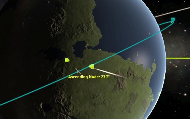 Kerbal Space Program: Восходящий узел орбиты с наклонением 23.7°