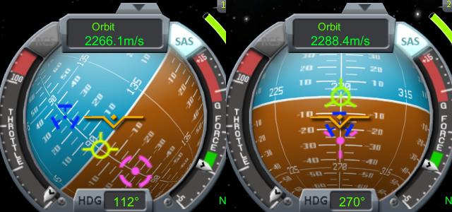 Kerbal Space Program: Navball и маркеры вектора скорости, цели, манёвра