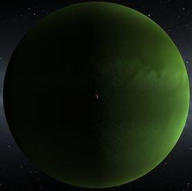 Kerbal Space Program: Jool, зеленый газовый гигант. Вид с орбиты.