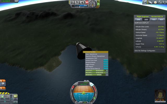 Kerbal Space Program: Вход в плотные слои атмосферы над KSC