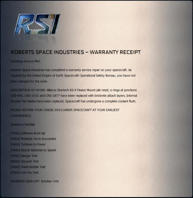 Star Citizen: Гарантийная расписка о состоянии RSI Aurora