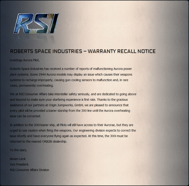 Star Citizen: Уведомление о гарантийном отзыве RSI Aurora