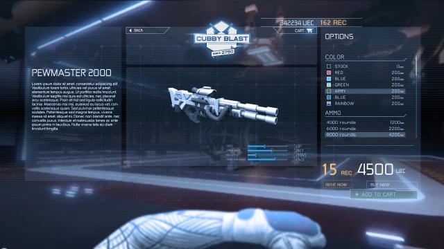 Star Citizen: Прототип интерфейса совершения покупок за REC для mobiGlas