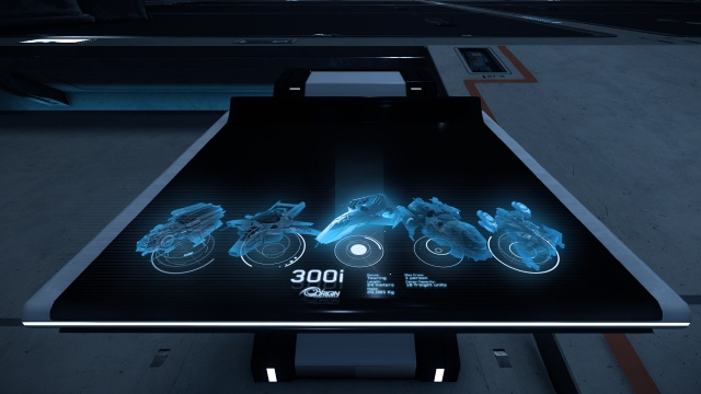 Star Citizen: Прототип меню выбора корабля на обновленном голографическом столе