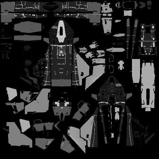 Star Citizen: Рисунок 4 – Одна из текстурных разверток корабля Gladius, которую мы используем для определения места получения повреждения при определенном попадании. Каждый цвет представляет часть корабля, которая может двигаться независимо или отделяться