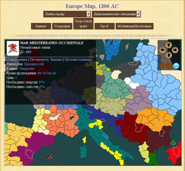 Браузерные Игры: Карта в Medieval Europe