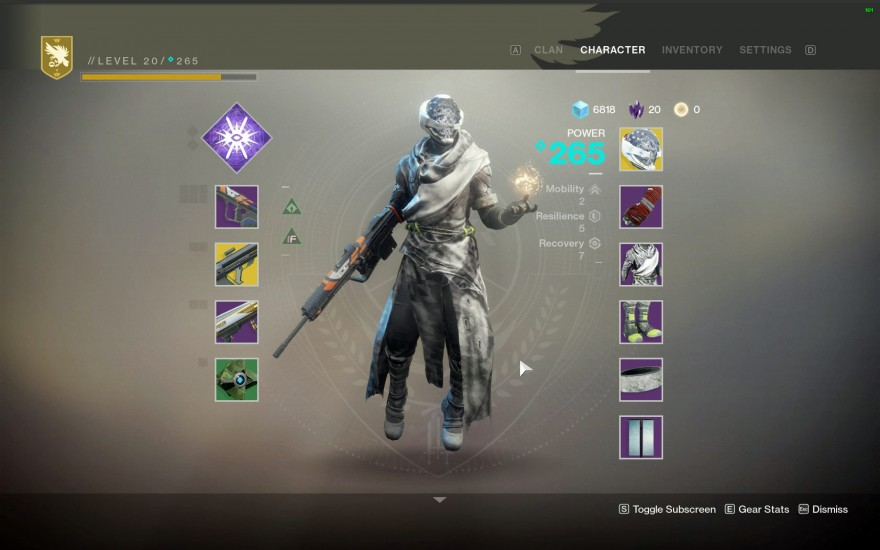 Destiny 2: Character screen