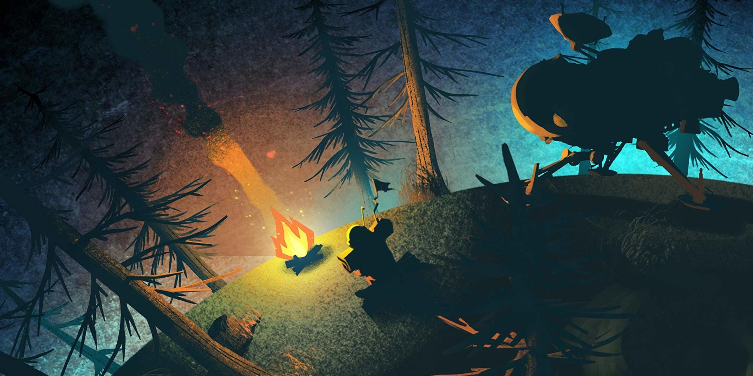 неММО: Outer Wilds: ночь, ледяная рябь квазара, маршмеллоу, банджо и фонарь